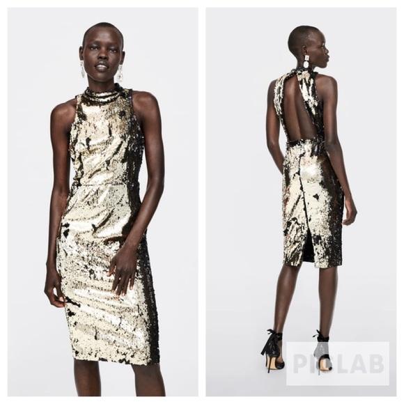 84f826d8 Zara Dresses   Golden Sequin Dress   Poshmark